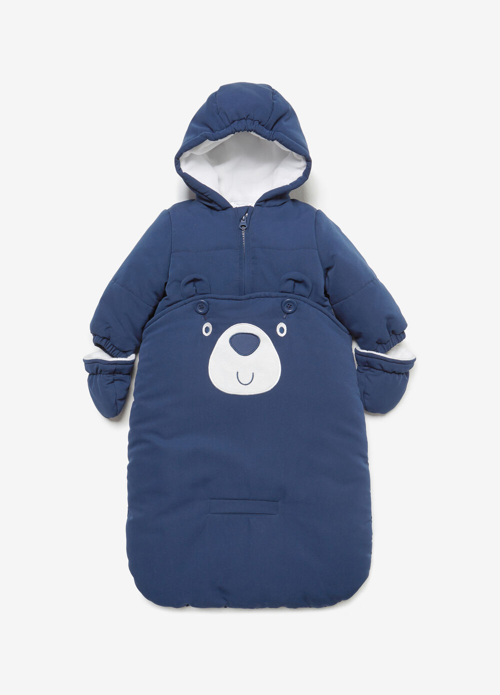 Solid colour baby sleeping bag with mittens