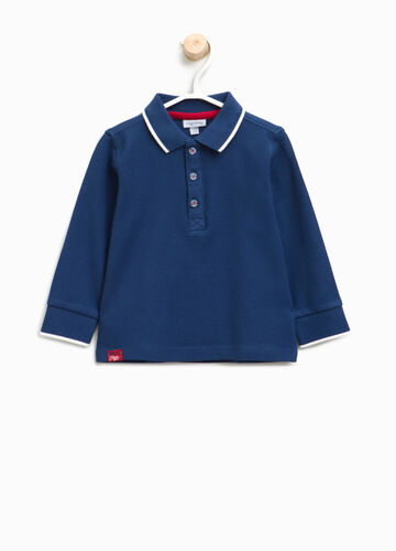 Polo shirt in cotton with striped ribbing