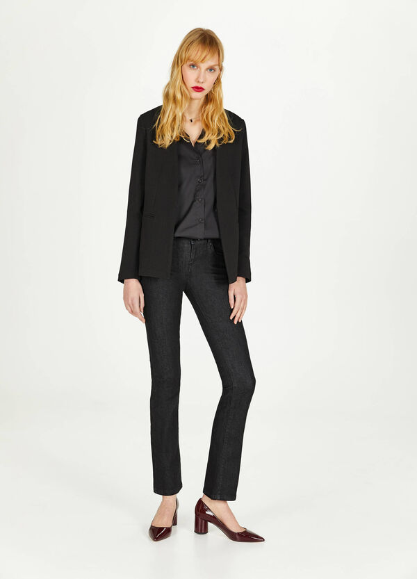 Stretch piquet blazer with weave