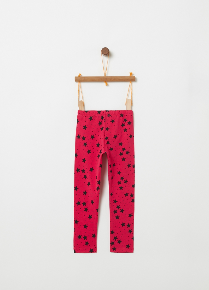 Leggings in stretch organic cotton with polka dots and stars image number null