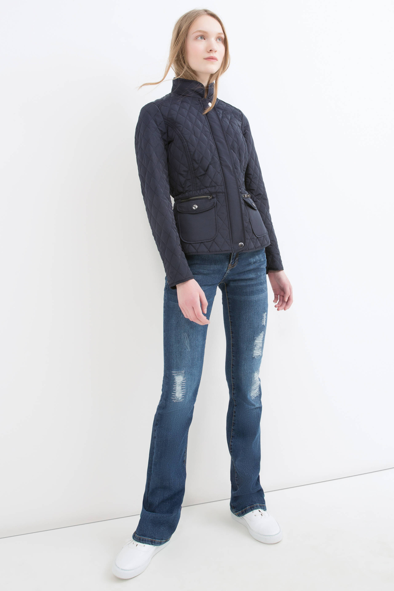 Solid colour stitched jacket. image number null