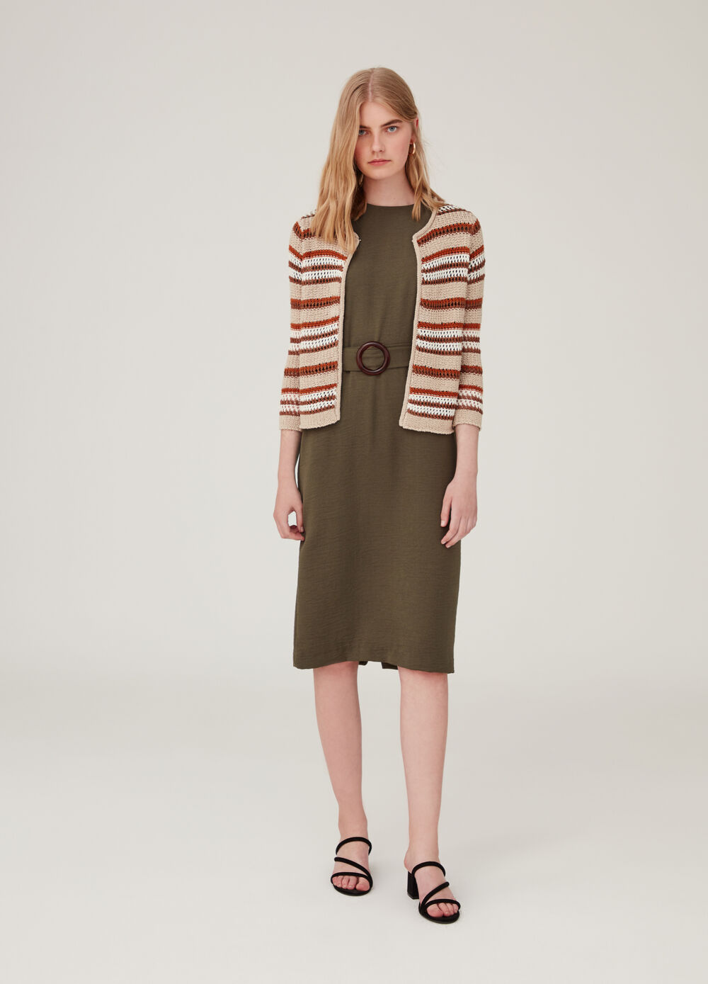 Striped pattern knitted cardigan