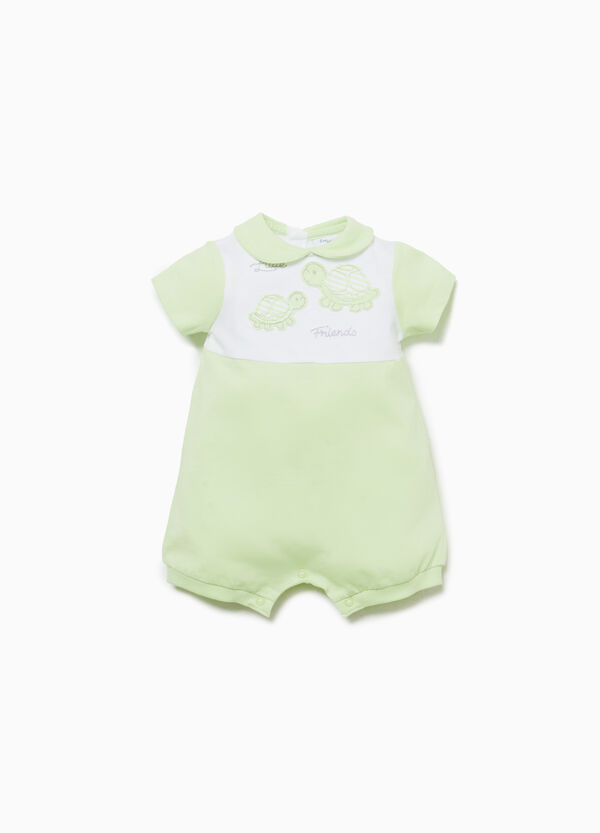 Cotton romper suit with turtle patches