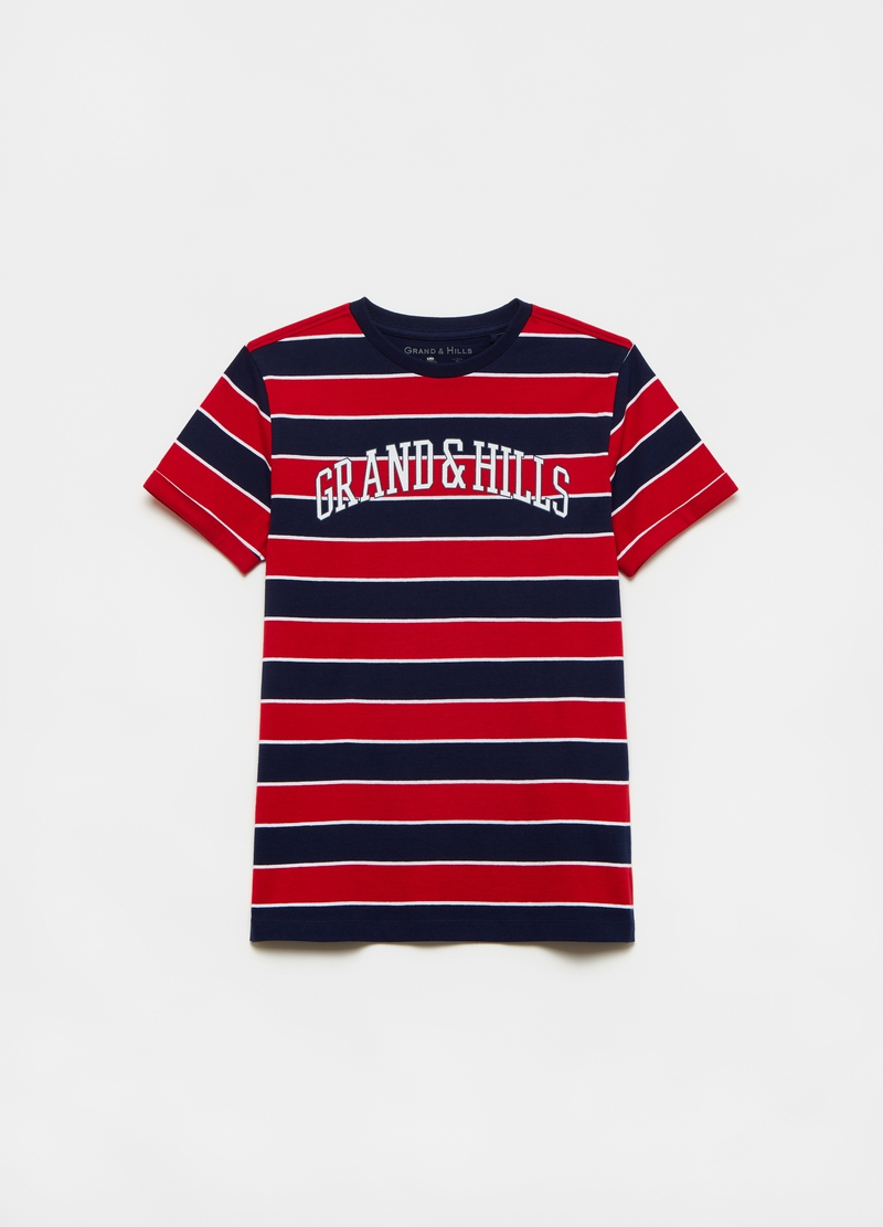 Striped cotton T-shirt with logo image number null