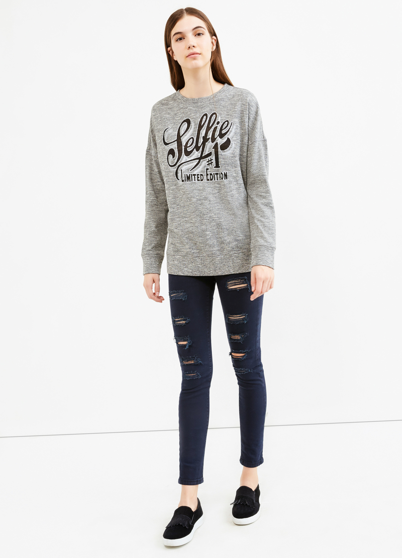 Cotton blend sweatshirt with printed lettering image number null