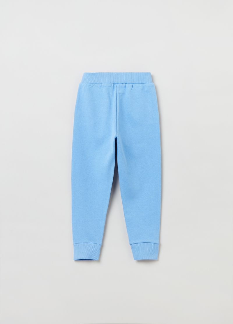Solid colour cotton joggers. image number null