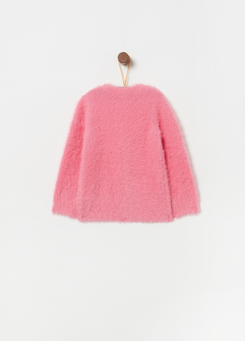 Fur-effect knitted cardigan image number null