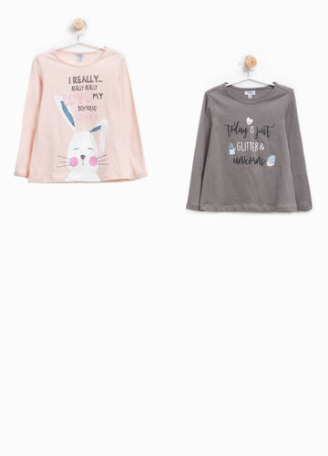 Set due t-shirt in cotone stampa lettering