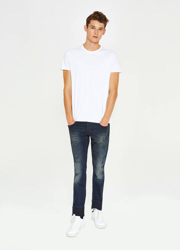 Jeans slim fit stretch used strappati