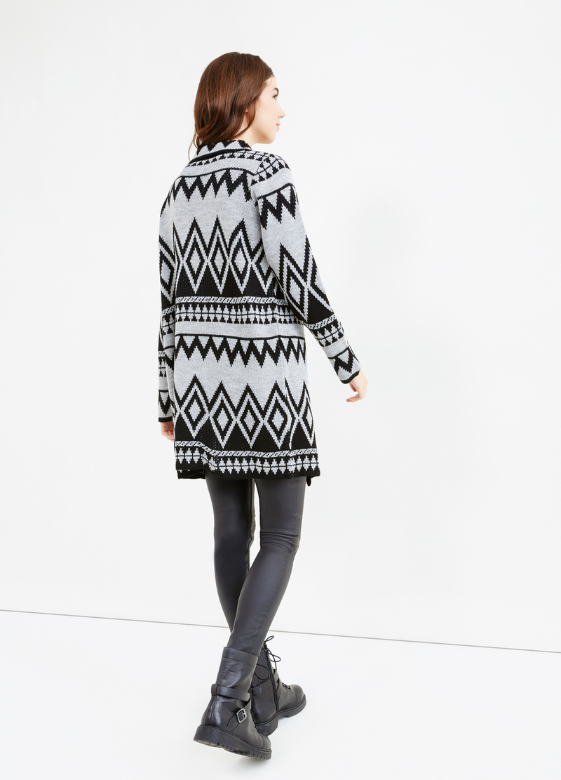 Long cardigan with geometric embroidery image number null