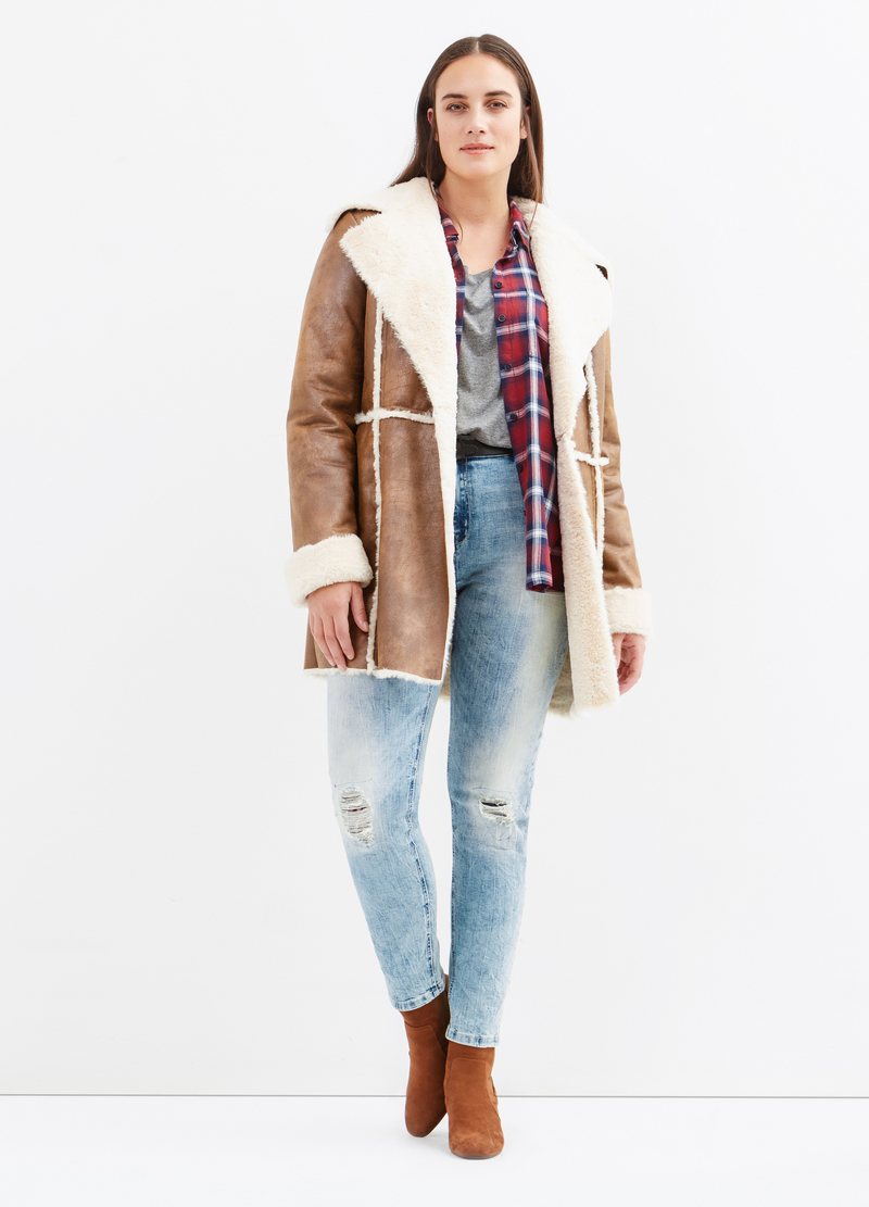 Curvy leather-look jacket with faux fur image number null