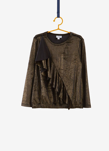 Solid colour glitter T-shirt with flounce