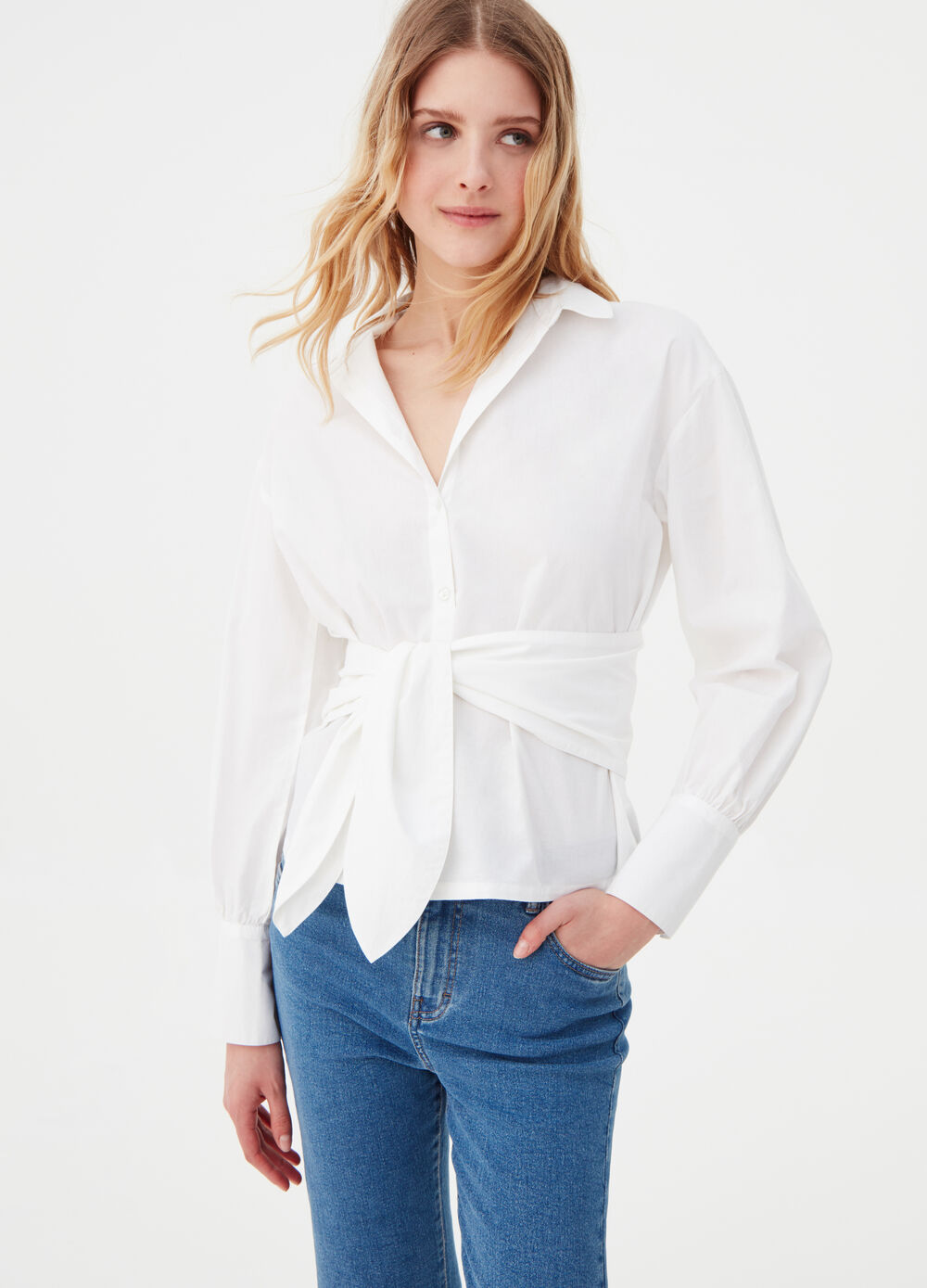Poplin shirt with bow