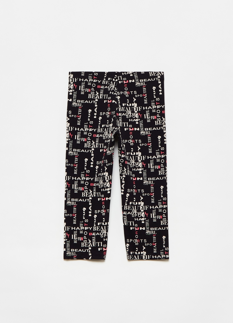 Leggings a tre quarti con lettering all-over image number null