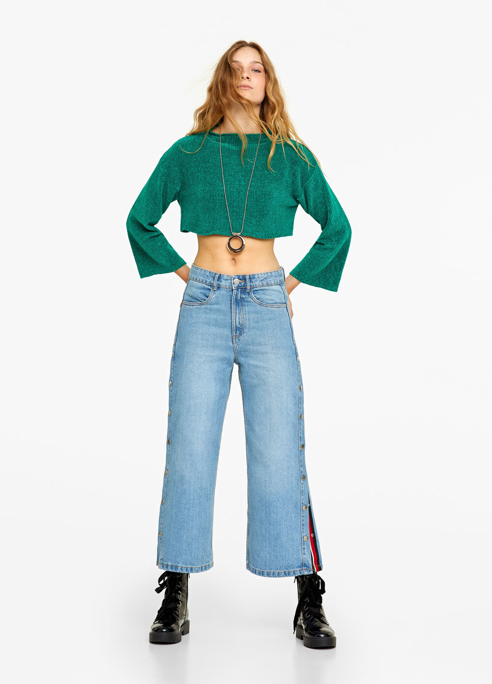 Wide-leg jeans with side buttons