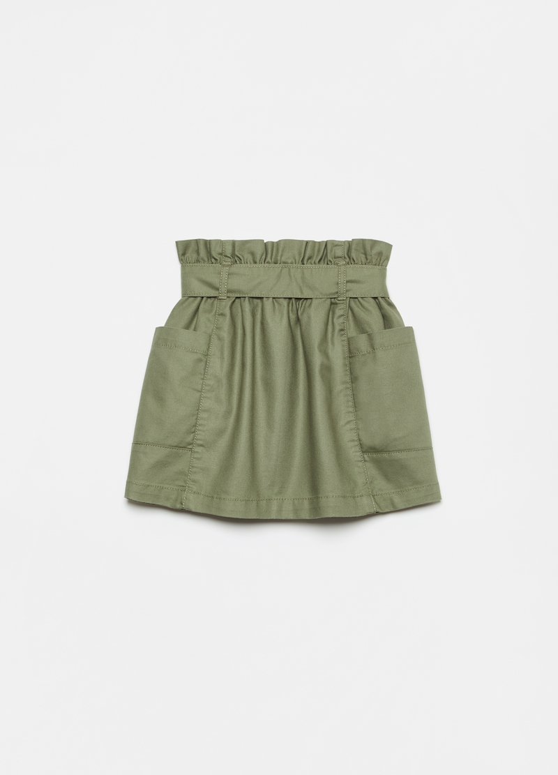 Paper bag skirt in twill image number null