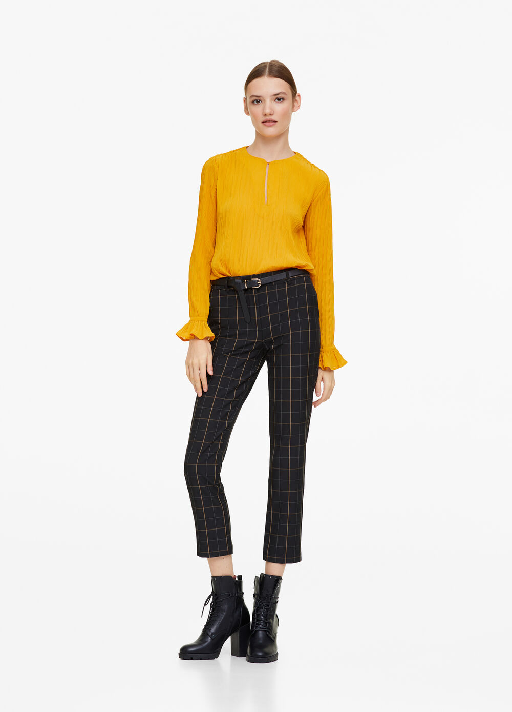 Solid colour blouse with textured fabric
