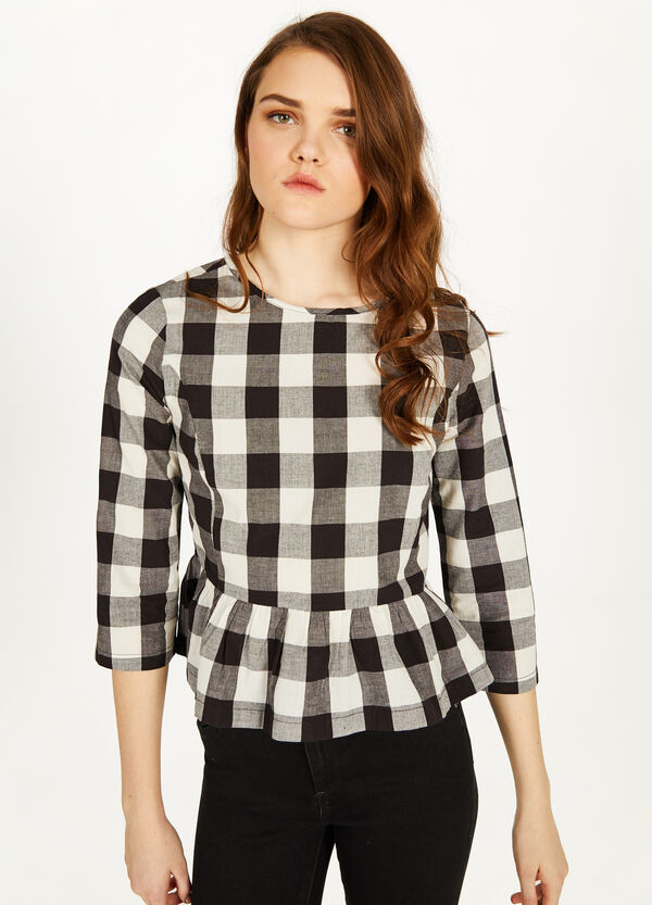 Patterned cotton blouse with flounce