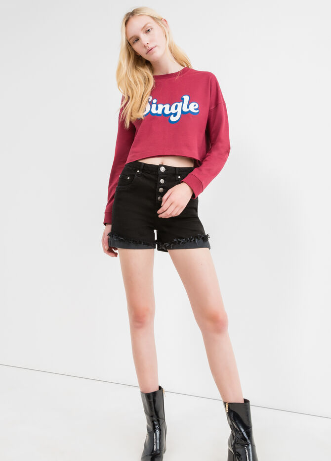 Cotton crop sweatshirt with printed lettering