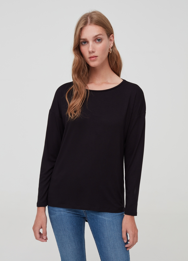 Stretch viscose T-shirt with drop shoulder image number null