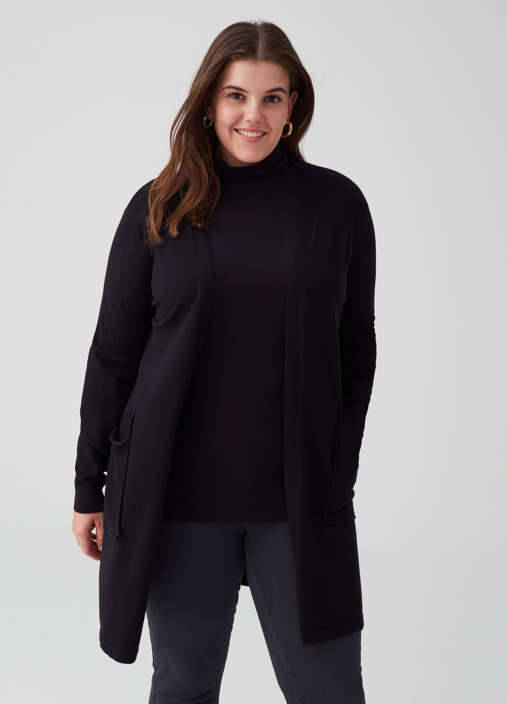 Curvy knitted stretch cardigan