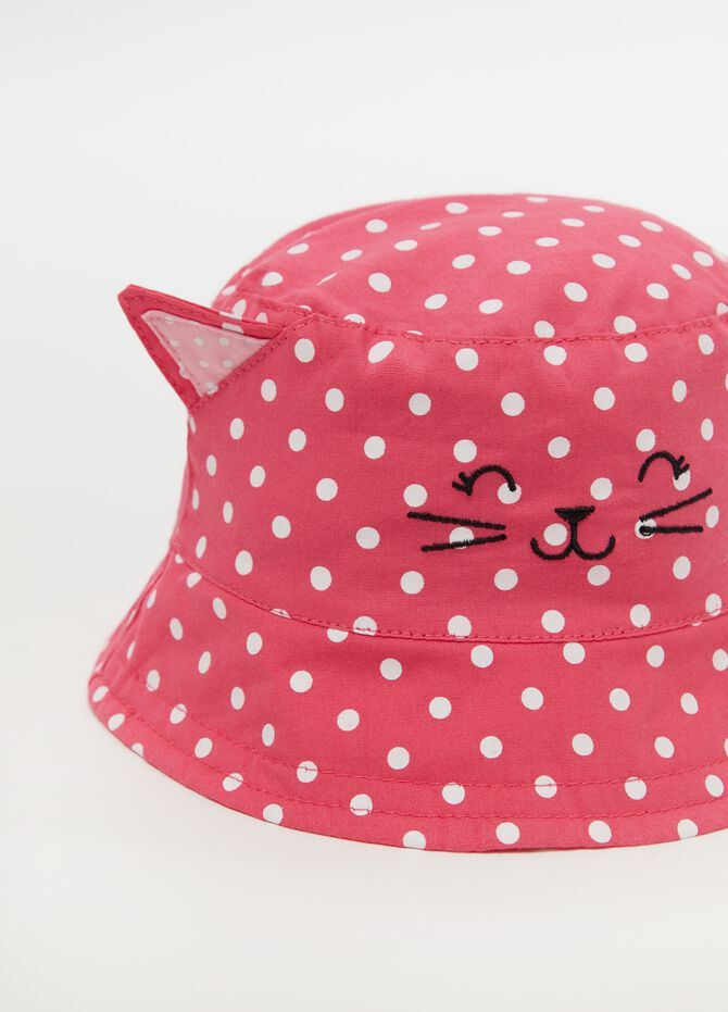 Fishing hat with cat embroidery and polka dots