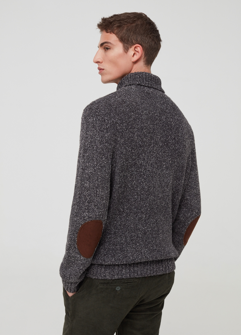 PIOMBO pullover with high neck and patches image number null
