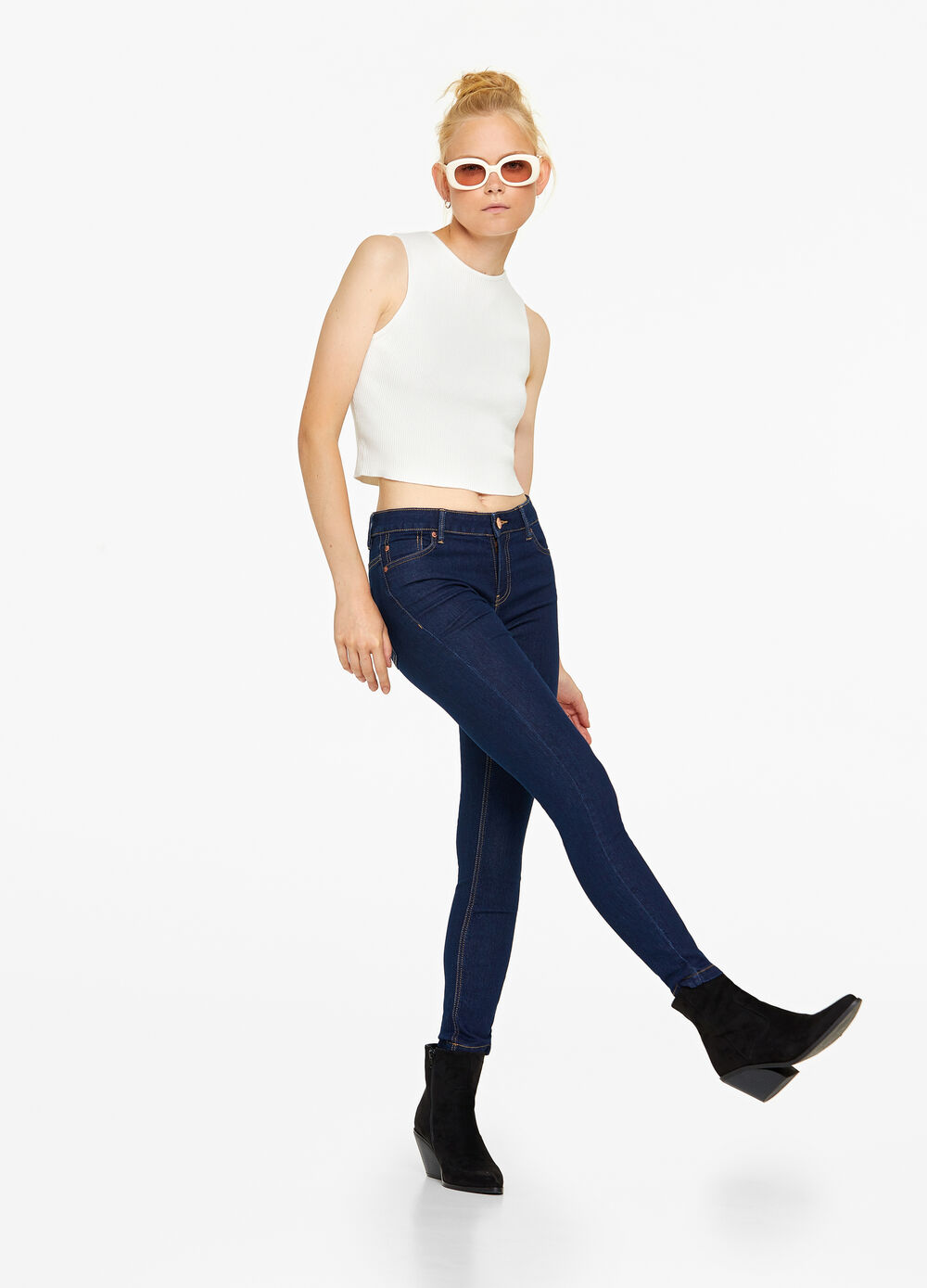 Jeans crop stretch tinta unita