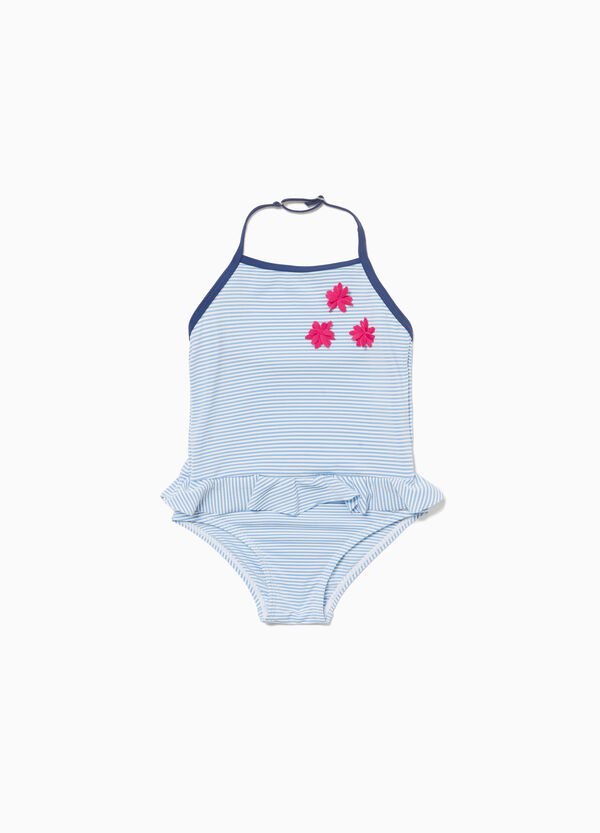 One-piece striped swimsuit with flowers and flounce