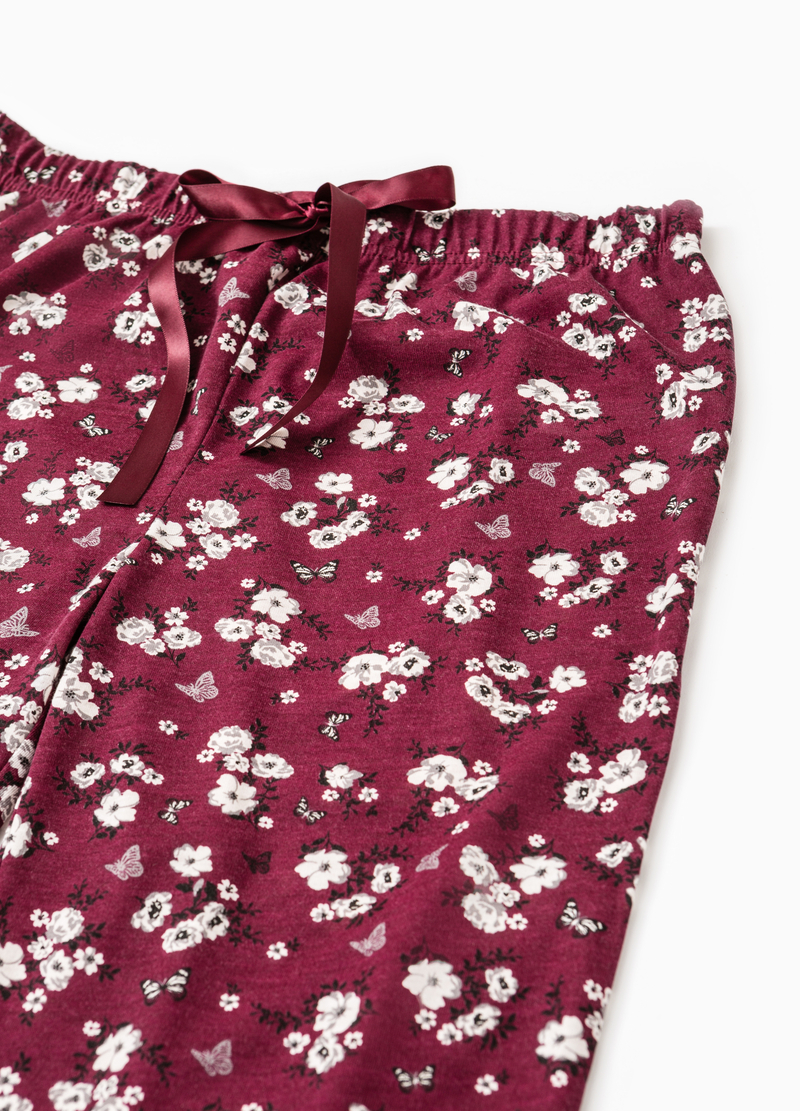 Floral pyjama bottoms with lace image number null