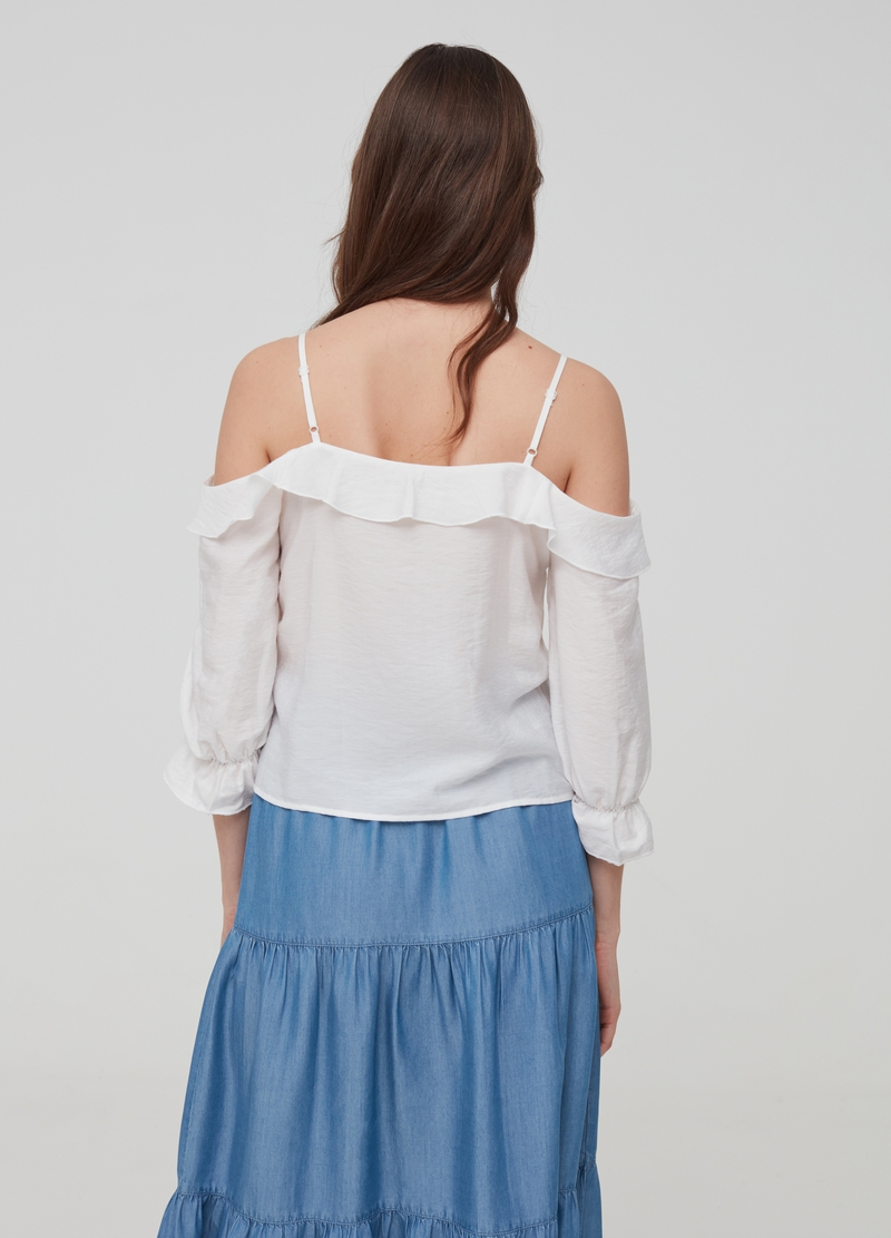 Off-the-shoulder blouse with flounce image number null
