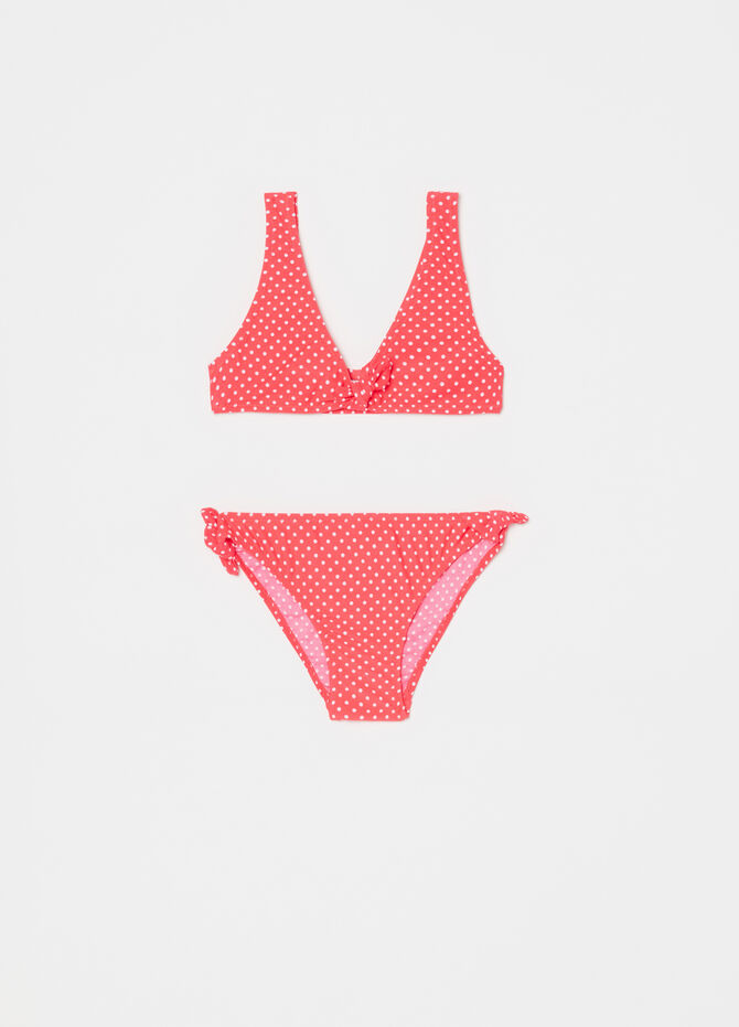 Bikini top e slip stretch fantasia a pois