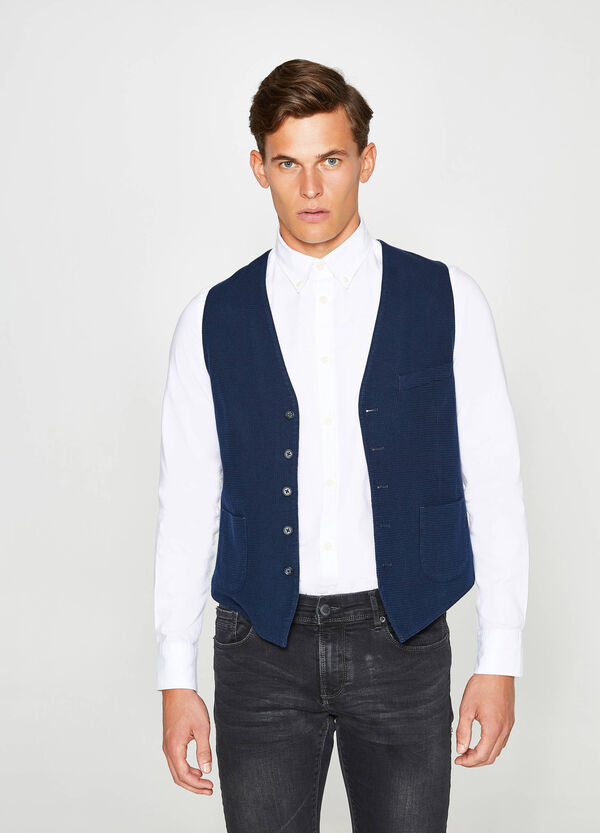 Cotton gilet with raised weave | OVS
