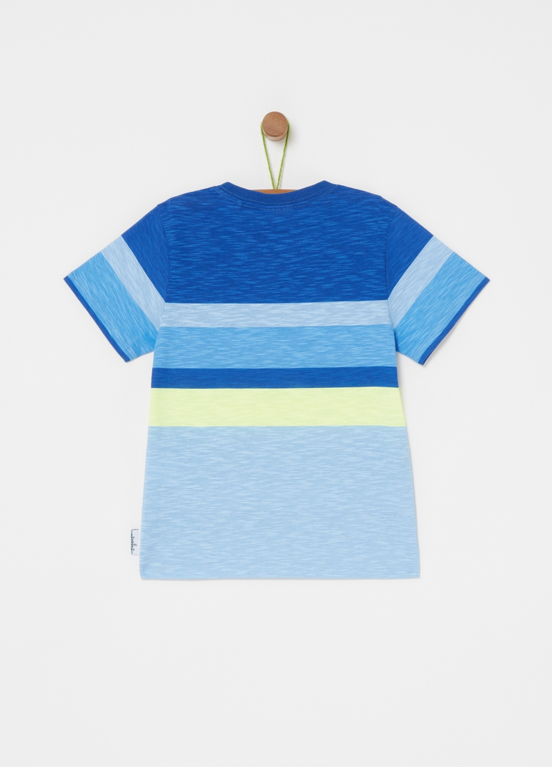 Iridescent-effect T-shirt with stripes image number null
