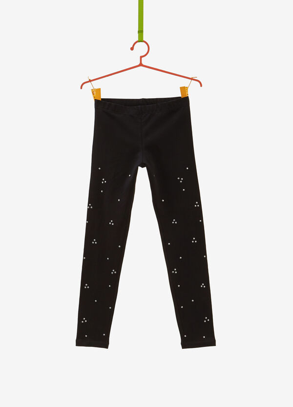 Leggings in stretch cotton with star studs