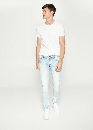 Slim-fit misdyed-effect jeans