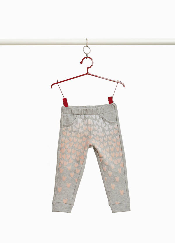 Trousers with hearts print on the front