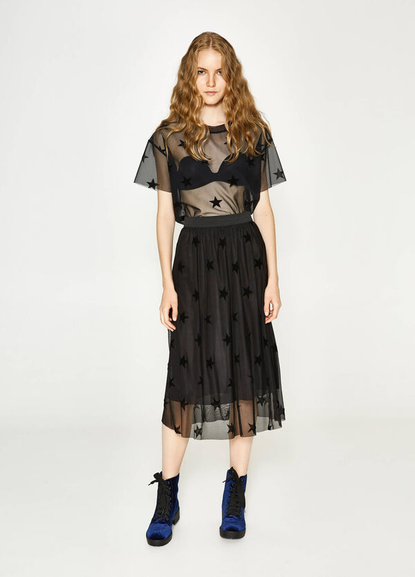 Tulle longuette skirt with star pattern | OVS