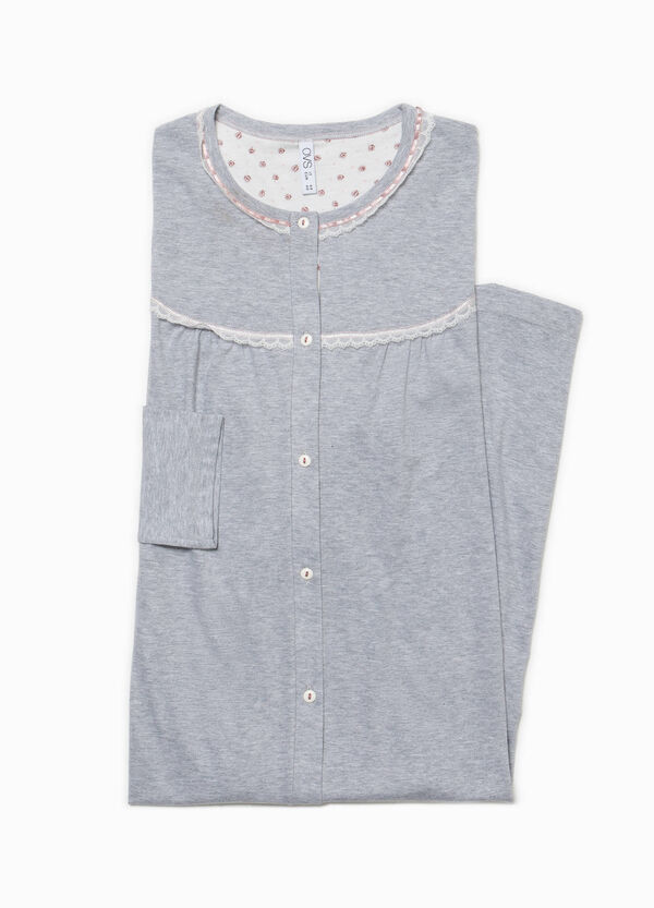100% cotton nightshirt with lace | OVS