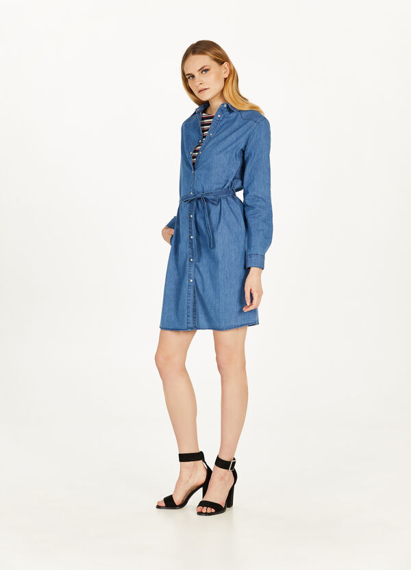 Suede denim dress with belt