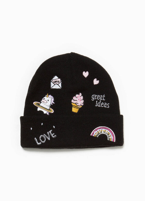Cappello a cuffia ricami e patch