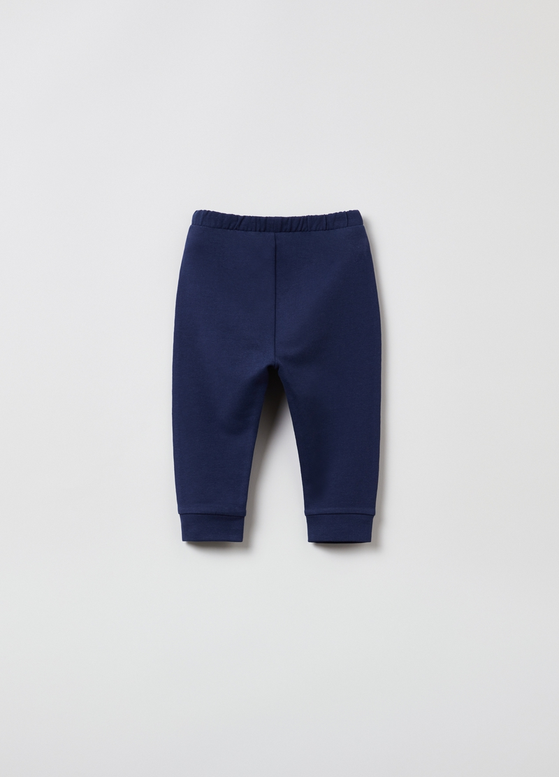Joggers in cotone stretch tinta unita image number null