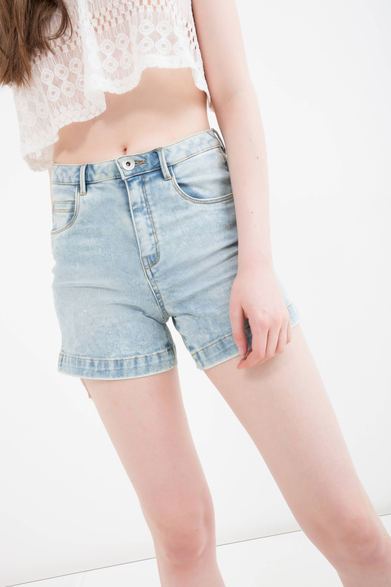 Shorts stretch con risvolto image number null