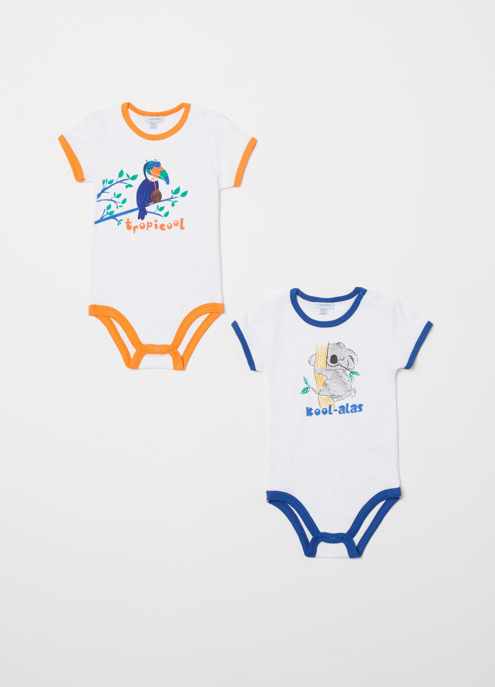 Two-pack printed bodysuits
