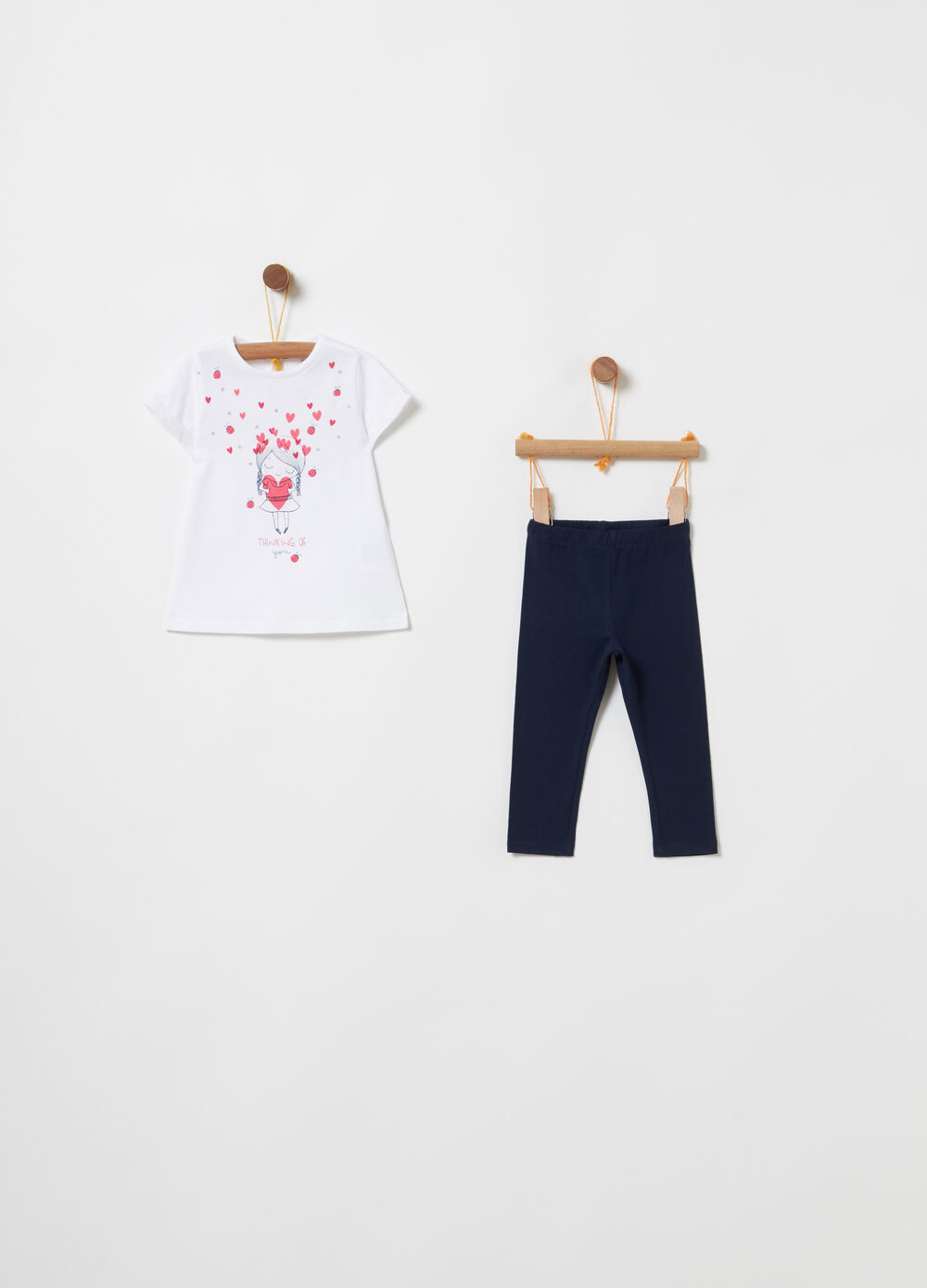Jogging set t-shirt e leggings con stampa