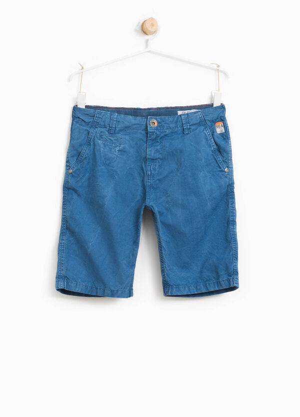 Cotton mis-dyed Bermuda shorts