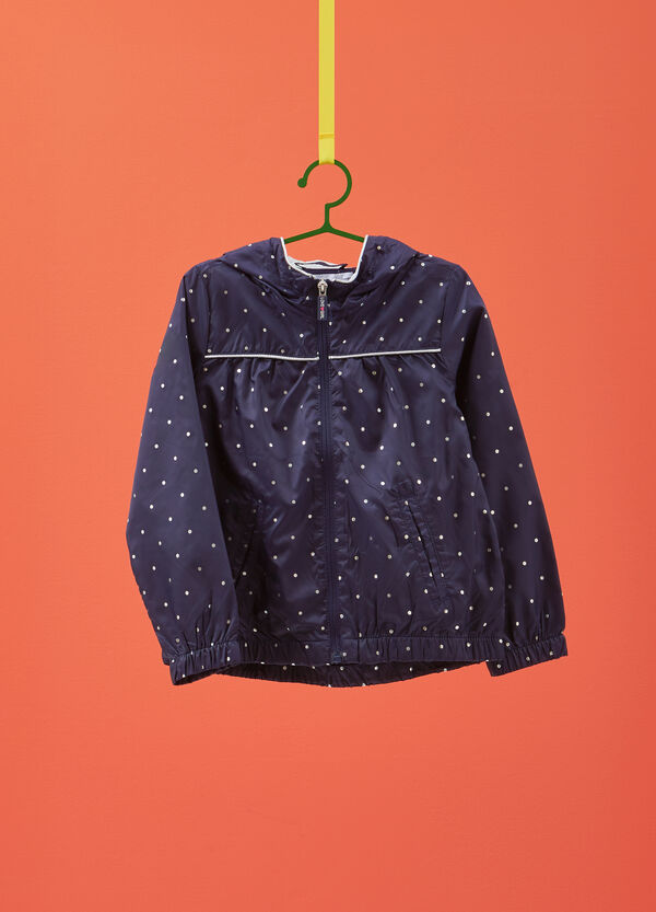 Jacket with hood and glitter polka dots