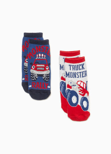 Two-pair pack Monster Trucks socks
