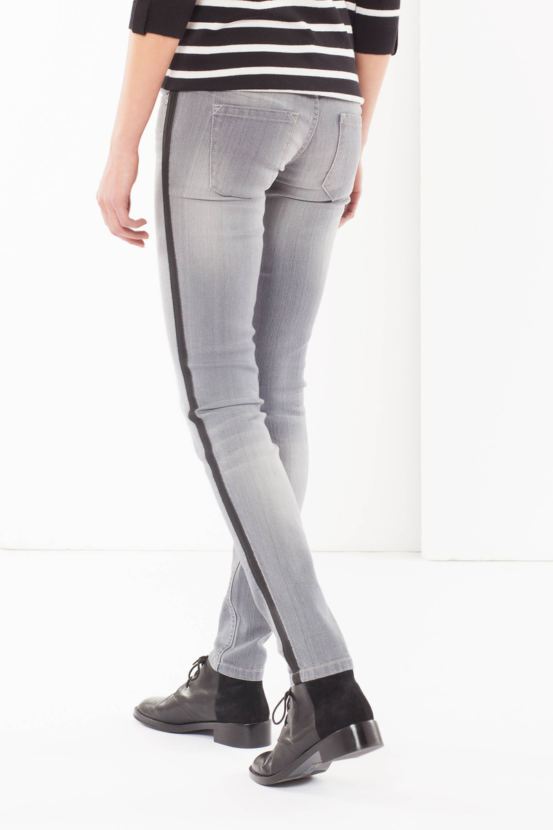 Skinny fit jeans with side contrast bands image number null