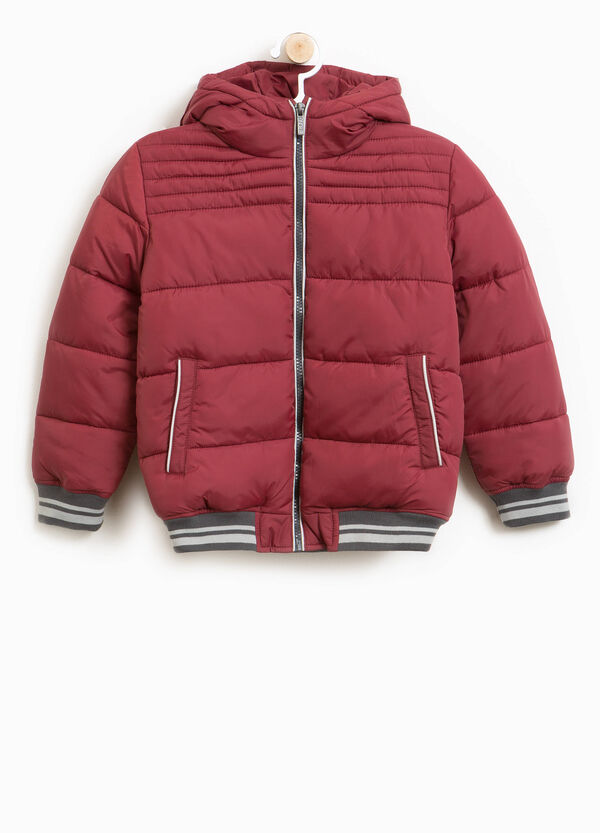 Down jacket with trim and hood | OVS